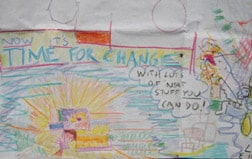 "Drawing of the ""Time For Change"" doodle that ""led"" to starting Hearts & Minds"