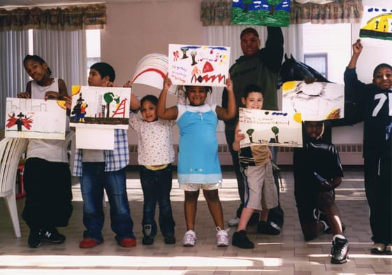 Homeless kids at Belt Park Center show their artworks for the environment