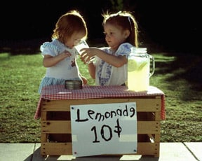 girls selling lemonade