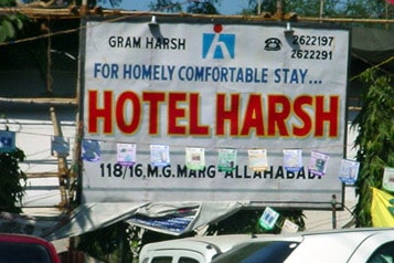 "sign that says ""Hotel Harsh"""