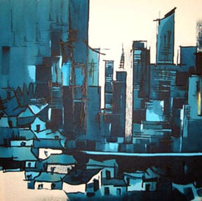 Painting of a big city compared with a small village by Man Gurung, an artist from Nepal