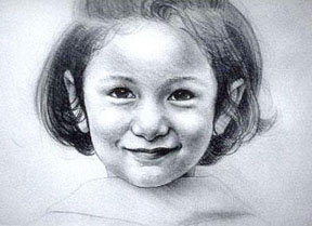 Pencil drawing of a smiling girl by Man Gurung, an artist from Nepal