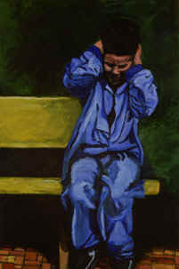 Painting of boy covering his ears
